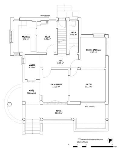 <p><strong>7. </strong>Başoğlu Evi zemin  kat planı rölövesi <br />   Kaynak:  Yazarlar tarafından sahada alınan kroki ve ölçüler ile hazırlanmıştır.</p>