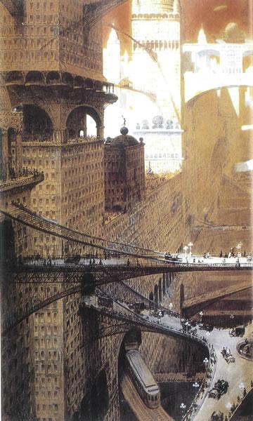 """7. """"Gelecek Dünyanın Şehri"""" (The City of the World to Come), 1909, William Robinson Leigh"""