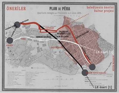 <p><strong>7.</strong> Mandouceun haritası üzerinden Peranın inşası için  yapılan öneriler</p>