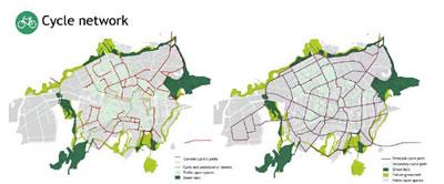 7. Vitoria-Gasteiz'daki bisiklet ağları, planlanan hatlar (Kaynak: Vitoria-Gasteiz 2012 başvuru dosyası)