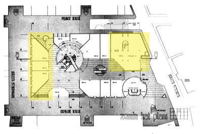 <p><strong>7a.</strong> Zemin kat planı (dükkânlar ve banka  sarı renk ile işaretlenmiştir)<br />  Kaynak: 1987, <strong>Mimarlık</strong>, sayı:226, ss.68-77</p>
