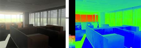 8. Bir ofis mekânında bakış açısına göre mekândaki ışık şiddeti farklılıkları
