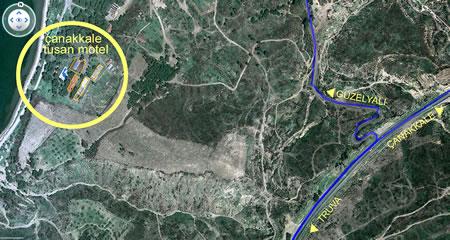 Resim 8. Çanakkale Tusan Motel, hava fotoğrafı kullanılarak düzenlenmiş kroki (Kaynak: Google Earth)