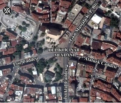 <p><strong>8.</strong> Delikliçınar Meydanı<br />Kaynak: Google Earth haritası üzerine yazarlar tarafından  işlenmiştir.</p>