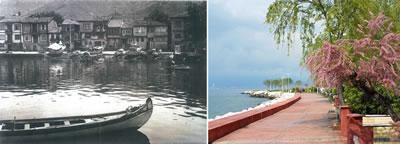 <p><strong>8.</strong> Karamürselde  günümüzde yitirilmiş olan özgün kıyı ilişkisi (solda) ve mevcut durum (sağda)<br />  Kaynak:  Ahmet Akgüner / KOÜ BAP, 2015 proje arşivi</p>