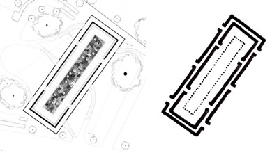 <p><strong>8.</strong> Serpentine Galerisi Pavyonunun planı ve yorumu <br />  Kaynak: Durisch, 2014e,  s.136. Çizim: Mehmet Kerem Özel</p>