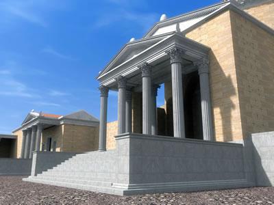 <p><strong>Resim  8.</strong> Asklepion  Tapınağının iVisit Anatolia Projesi kapsamında iki numaralı bakı noktasından  bakılarak elde edilen 3 boyutlu görünümü<br />Kaynak: Ender Aydın arşivi</p>