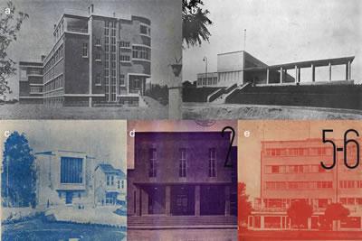 <p><strong>8.</strong> Kapak fotoğraflarında modern  zamanın ve mekânların durağanlığı, (a) <em>Arkitekt </em>1932/7-8; (b) <em>Arkitekt</em> 1936/7;  (c)<em> Arkitekt</em> 1936/12; (d)<em> Arkitekt</em> 1938/2; (e) <em>Arkitekt</em> 1939/5-6</p>