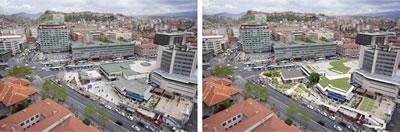 """<p><strong>8<strong>. </strong></strong>Yapının özgün halini koruyarak, basit müdahalelerle  sahip olduğu mekân zenginliğinin açığa çıkarılabileceğini gösterir kolaj<br /> <strong>Kaynak:  (</strong>solda, orijinal fotoğraf): """"Yeni Ulus Meydanı Projesine  Adım Adım."""" Ankara Büyükşehir Belediyesi, 20 Haziran 2020.  https://www.ankara.bel.tr/haberler/yeni-ulus-meydani-projesine-adim-adim (sağda, kolaj çalışması): Yiğit Acar, 2020.</p>"""