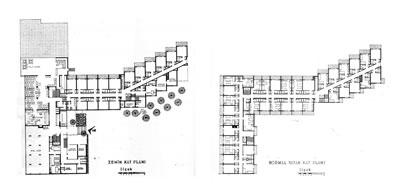 <p><strong>8. </strong>Grand Hotel Bayramoğlu zemin ve üst kat planları<br /> Kaynak: <strong>Arkitekt</strong>,  1970, ss.62-63.</p>