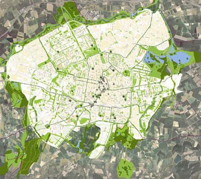 8. Vitoria-Gasteiz'daki yeşil sistem ve yeşil alanlarda gece ışık kirliliği haritası (Kaynak: Vitoria-Gasteiz 2012 başvuru dosyası)