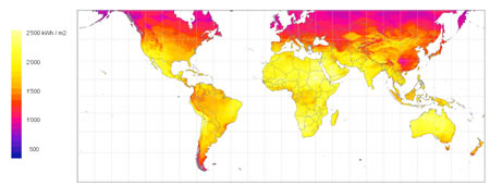 9. Dünyada güneş radyasyon kazancı haritası (kWh/m2) (Kaynak: Meteonorm, 2009)