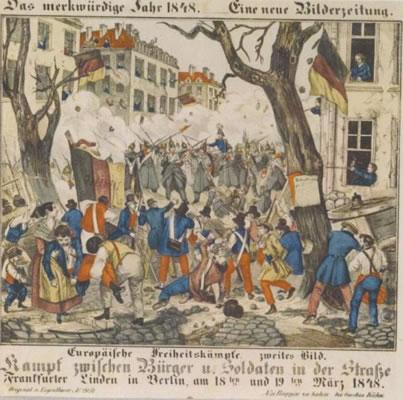 <p><strong>9.</strong> 1848 Berlin İsyanı, avlular,  meydanlar ve bina pencerelerinden eyleme katılım</p>