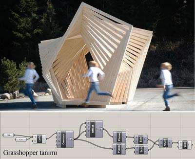 <p><strong>9. </strong>The Framed Pavillion, tasarım süreci ve sonuç ürün.<br />Kaynak: www.iam.tugraz.at/studio/w11_blog/ [Erişim: 30.03.2015]