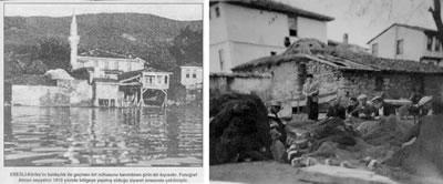 <p><strong>9.</strong> Ereğli Merkez Caminin özgün durumu ve yitirilmiş olan hamam <strong> </strong><br />  Kaynak:  Ereğli Köyü Nostalji Grubu / KOÜ BAP, 2015 proje arşivi</p>