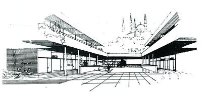 <p><strong>9.</strong> 4-5 no.lu  blokların avlusundan Süleymaniye ye bakış<br />  Kaynak: <strong>Arkitekt</strong>, 1960, sayı:3 (300).</p>