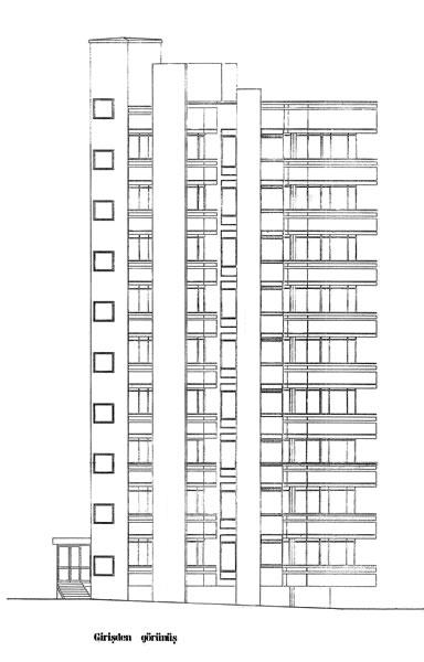<p><strong>9. </strong>Kaplancalı  Apartmanı girişten görünüş (Y. Mimar Kemal Tokgözün çizdiği rölöve projesi,  1985)<br />  Kaynak:  Kadıköy Belediyesi İmar Müdürlüğü  Arşivi</p>