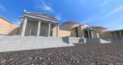 <p><strong>Resim  9.</strong> Asklepion  Tapınağının iVisit Anatolia Projesi kapsamında üç numaralı bakı noktasından  bakılarak elde edilen 3 boyutlu görünümü<br />  Kaynak: Fatih Kurunaz arşivi </p>