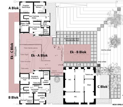 <p><strong>9. </strong>Samsun  Kent Müzesi Bodrum Kat Planı (Kent Müzesi Giriş Kat Planı) (Renkli olan  bölümler ek yapıların izdüşümleridir.)<br />  Kaynak: Samsun Kent  Müzesi</p>