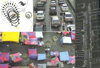 <p><strong>9.</strong> Caracas-Enformel kullanımların  haritalama çalışması: Dur-kalk pazarlar ve sokak satıcılarının operasyonel  örgüleri.<br />   Kaynak: Brillembourg Alfredo,  Feireiss, K.; Klumpner, H., 2005, <strong>Informal  City: Caracas Case</strong>, Prestel, New York, ss.166, 171-172.</p>