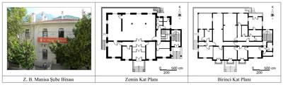 <p><strong>9.</strong> Ziraat Bankası Manisa Şube Binasının fotoğrafı ve kat  planları<br />   Kaynak:  Fotoğraf yazara aittir, planlar ise PROTEK Müh. İnş. San. ve Tic. Ltd. Şti.  firmasının (Mimar Şemsi Tunçel) hazırlamış olduğu rölöveler esas alınarak yazar  tarafından düzenlenmiştir.</p>