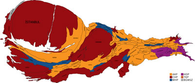 <p><strong>9. </strong>Partilerin Kazandığı  İllerin GSYH Ağırlığının Kartogram Haritası ile Gösterimi,  Kaynak: AA, TÜİK</p> Aytaç Paçalın Çalışması<br />Görsel: Aytaç Paçal, twitter.com/aytacpacal <br />