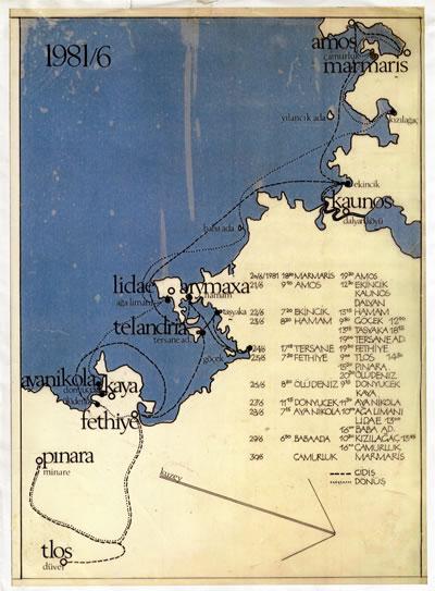 <p><strong>9.</strong> 1981 Haziran Mavi Yolculuk İzleği ve Haritası.<br />   Kaynak:  SALT Araştırma, Cengiz Bektaş Arşivi.</p>