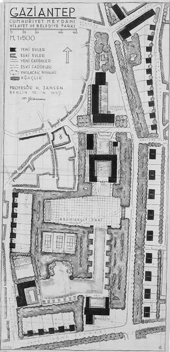 <p><strong>9.</strong> Yönetim binaları yerleşim planı<br />   Kaynak: Technische Universität Berlin  Architekturmuseum</p>