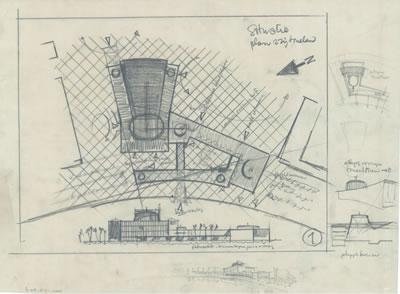 <p><strong>9a.</strong> İzmir Belediyesi Tiyatrosu için üretilen kubbeli tasarım, 1954<br />   Kaynak: Stadsschouwburg  Izmir Turkije (ontwerp W.M. Dudok), NAi/DUDO 195K.34, 195M.101, Het Nieuwe  Instituut, Rotterdam. </p>