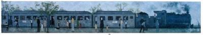 <p><strong>9. </strong>Nedim Günsürün (1924-1994) çizimlerinde  demiryolları, Yeşil Tren, Istanbul - Frankfurt ve Haydarpaşa<br /> Kaynak: Sönmez, 2016</p>