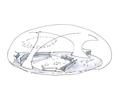 <p><strong>9b.</strong> Lucerne Festivali için Anish Kapoor  ile birlikte tasarlanan Ark Nova, 2013, Miyagi, Japonya<br />   Kaynak: Arata Isozaki and  Associates </p>