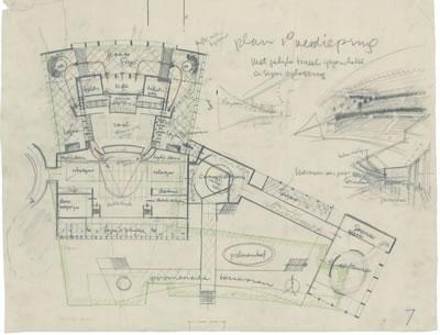 <p><strong>9b.</strong> İzmir Belediyesi Tiyatrosu için üretilen kubbeli tasarım, 1954<br />   Kaynak: Stadsschouwburg  Izmir Turkije (ontwerp W.M. Dudok), NAi/DUDO 195K.34, 195M.101, Het Nieuwe  Instituut, Rotterdam. </p>