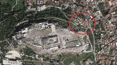 <p><strong>Harita  1.</strong> Anafiotika'nın  kent içindeki konumu</p>