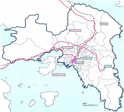 """<p><strong>Harita 3.</strong> Eleonas Bölgesi ve bölgeyi çevreleyen iki otoyol ve  demiryolu<strong></strong><br />Kaynak:  """"Eleonas: Une Enclave Urbaine à Récupérer"""" </p>"""