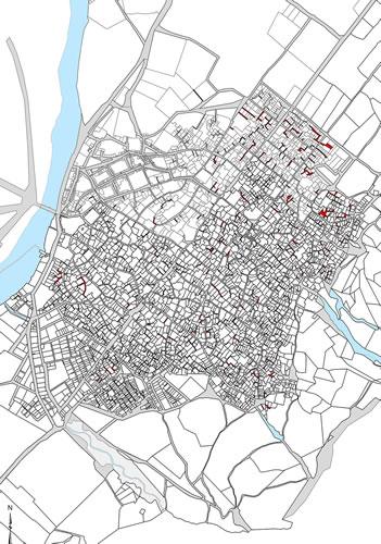 <p><strong>Harita  1.</strong> Antakya tarihî  kent dokusu sokak dokusunda bulunan kamusal sokaklar gri renk ile  belirtilmiştir. 1929 yılına tarihlenen kadastral planlar üzerinden  hazırlanmıştır.</p>