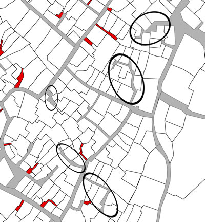 <p><strong>Harita  2.</strong> Tarihî kent  dokusunun içinde bulunan kamusal çıkmaz sokaklara örnekler daireler içerisinde  gösterilmektedir.</p>