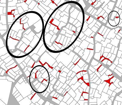 <p><strong>Harita 4.</strong> Tarihî kent dokusunun içinde  yarı-kamusal / yarı-özel çıkmaz sokaklara örnekler daireler içerisinde  gösterilmektedir.</p>