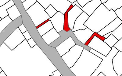 <p><strong>Harita 5(a).</strong> Yarı-kamusal / yarı-özel çıkmaz  sokaklar. Gri renk kamusal mülkiyet alanını, kırmızı renk şahıs mülkiyetindeki  alanları nitelemektedir.</p>