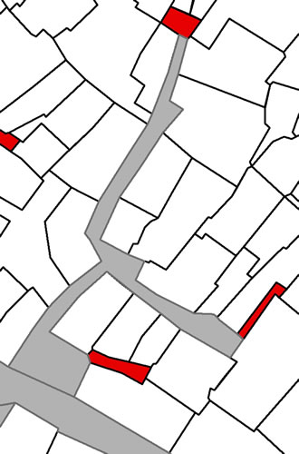 <p><strong>Harita 5(b).</strong> Yarı-kamusal / yarı-özel çıkmaz  sokaklar. Gri renk kamusal mülkiyet alanını, kırmızı renk şahıs mülkiyetindeki  alanları nitelemektedir.</p>