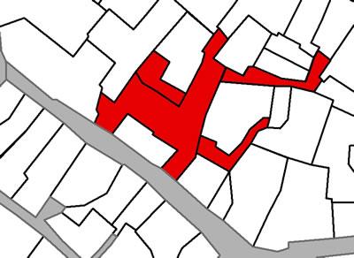 <p><strong>Harita  7(a). </strong>Özel çıkmaz  sokaklar. Soldaki haritada dört özel çıkmaz sokağın oluşturduğu çıkmaz sokak  örneği bulunmaktadır. Sağdaki harita tek parselin tanımladığı özel çıkmaz  sokağa örnektir.</p>