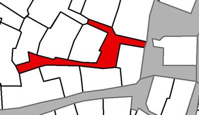 <p><strong>Harita  7(b). </strong>Özel çıkmaz  sokaklar. Soldaki haritada dört özel çıkmaz sokağın oluşturduğu çıkmaz sokak  örneği bulunmaktadır. Sağdaki harita tek parselin tanımladığı özel çıkmaz  sokağa örnektir.</p>