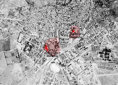 <p><strong>Plan  1.</strong> 1976 yılına ait hava fotoğrafı üzerinde Konakaltı ve Cumhuriyet Meydanı(idari  merkezler) ve Hükümet Konakları</p>