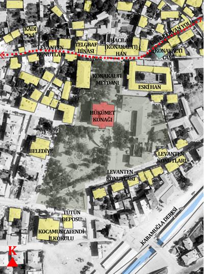 <p><strong>Plan  2. </strong>19.  yüzyıl sonunda Konakaltı Meydanı, Osmanlı dönemi Hükümet Konağı ve çevresi;  Kaynak: Yazara aittir.<strong></strong></p>