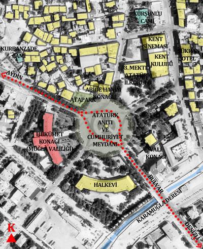 <p><strong>Plan  4.</strong> Cumhuriyet Meydanı ve Cumhuriyet dönemi Hükümet Konağı ve çevresi<br />  Kaynak: Yazara aittir.</p>