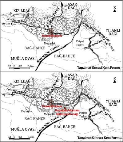 <p><strong>Plan  6. </strong>Tanzimat  öncesi ve sonrası Muğla kent formu<br />  Kaynak: Yazara aittir.<strong></strong></p>