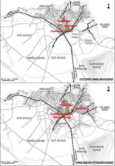 <p><strong>Plan  7. </strong>1923'den  1940'lara ve 1940'lardan 1970'lere kadar Muğla Kent Formu<br />  Kaynak: Yazara aittir.</p>