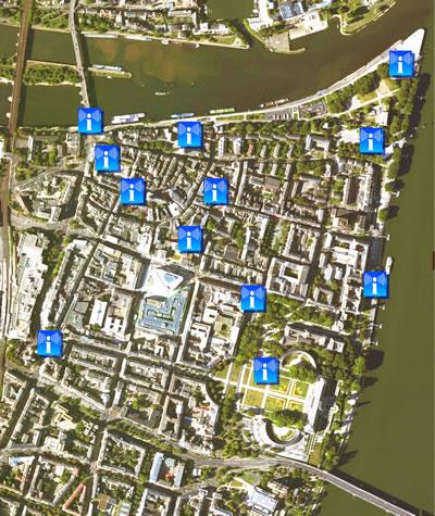 <p><strong>3. </strong>Koblenz  tarihî kent merkezine yerleştirilen elektronik bilgilendirme &ldquo;Infonetz&rdquo;  noktaları <br />  Kaynak: Furbach,  Maron, Read, 2008&rsquo;den yararlanarak yazarlar tarafından yeniden düzenlenmiştir.</p>