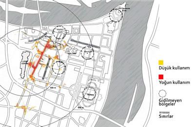 <p><strong>4. </strong>GPS  aletleriyle yapılan analizler sonucu &ldquo;Löhr Center&rdquo; otoparkını kullanan  ziyaretçilerin Koblenz kent merkezindeki yaya hareketleri <br />  Kaynak:  van der Hoeven vd., 2008&rsquo;den yararlanarak yazarlar tarafından yeniden  düzenlenmiştir.</p>