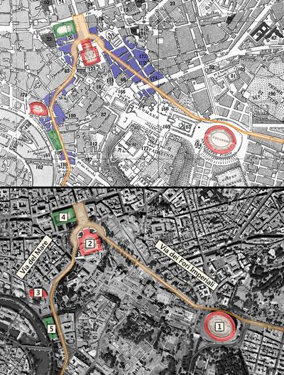 """<p><strong>5.</strong> Yıkımların gerçekleştiği iki ana aks ve  yaratılan mizanseni gösteren şema. (2007 yılında çekilmiş uydu görüntüsü ile  1/10.000 ölçek ve 1903 tarihli eski Roma haritası """"Piano Topografico di Roma""""  üzerinden üretilmiştir) Kırmızı yapılar mizansenin bir parçası haline getirilen  kültür varlıklarını, yeşil yapılar faşist rejimim kullandığı resmî binaları  göstermektedir. Mavi ile gösterilen alanlar ise bu süreçte tamamen yıkılan yapı  adalarıdır. 1.Kolezyum; 2.Vittorio Emanuele Anıtı; 3.Marcellus Tiyatrosu; 4.Mussolini'nin  ofisinin ve halka hitap ettiği meşhur balkon bulunduğu Palazzo Venezia; 5. Faşist  rejim tarafından inşa edilen ve bu dönemdeki kent içi uygulamaların  koordinasyon merkezi haline gelen Valilik Binası. </p>"""