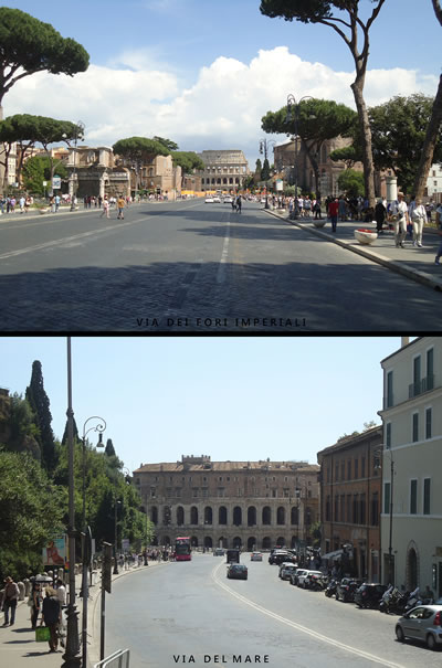 """<p><strong>6.</strong> Yıkımların gerçekleştirildiği iki ana aksa  güncel birer bakış; üstte """"Via dei Fori Imperiali"""", altta """"Via del Mare"""", 2018.  Antik Roma döneminin ihtişamını yansıtan Kolezyum ve Marcellus Tiyatrosu ile  kesişen bu akslar, kentin kültürel dokusu üzerinde yapılan """"yorumlama""""  faaliyeti ile birlikte çağdaş Roma kentinin algısını tanımlayan önemli panorama  noktaları haline gelmiştir. Ne var ki Via dei Fori Imperiali, günümüzde köklü  bir değişimin daha eşiğindedir. Altında kalan arkeolojik alanların açığı  çıkarılabilmesi için yolun tamamen ortadan kaldırılması bugün yoğun bir şekilde  tartışılmaktadır.<br /> Fotoğraf:  Mustafa Sayan</p>"""
